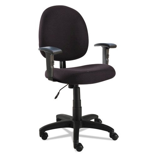 Alera Essentia Series Swivel Task Chair with Adjustable Arms, Supports up to 275 lbs, Black Seat/Black Back, Black Base. Picture 1