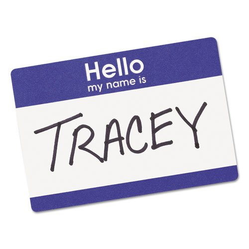 """Printable Adhesive Name Badges, 3.38 x 2.33, Blue """"Hello"""", 100/Pack. Picture 4"""