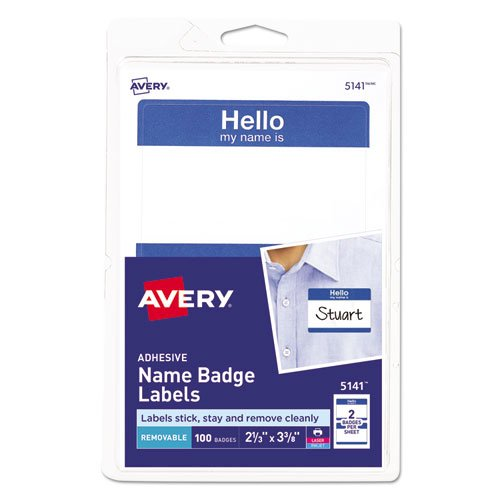 """Printable Adhesive Name Badges, 3.38 x 2.33, Blue """"Hello"""", 100/Pack. Picture 1"""
