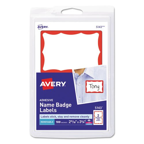 Printable Adhesive Name Badges, 3.38 x 2.33, Red Border, 100/Pack. Picture 1