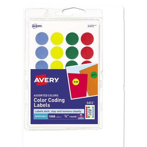 """Printable Self-Adhesive Removable Color-Coding Labels, 0.75"""" dia., Assorted Colors, 24/Sheet, 42 Sheets/Pack, (5472). Picture 1"""