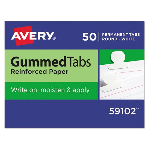 """Gummed Reinforced Index Tabs, 1/12-Cut Tabs, White, 0.5"""" Wide, 50/Pack. Picture 1"""