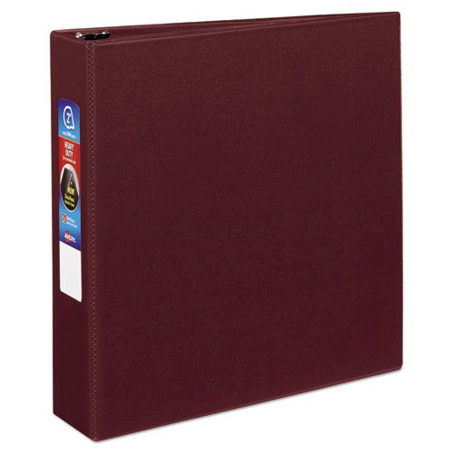 """Heavy-Duty Non-View Binder with DuraHinge and One Touch EZD Rings, 3 Rings, 2"""" Capacity, 11 x 8.5, Maroon. Picture 1"""