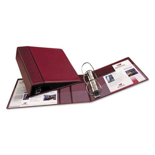 """Heavy-Duty Non-View Binder with DuraHinge and Locking One Touch EZD Rings, 3 Rings, 4"""" Capacity, 11 x 8.5, Maroon. Picture 2"""