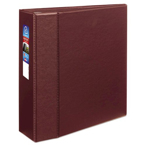 """Heavy-Duty Non-View Binder with DuraHinge and Locking One Touch EZD Rings, 3 Rings, 4"""" Capacity, 11 x 8.5, Maroon. Picture 1"""