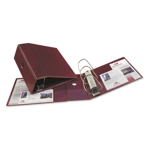 """Heavy-Duty Non-View Binder with DuraHinge, Three Locking One Touch EZD Rings and Thumb Notch, 5"""" Capacity, 11 x 8.5, Maroon. Picture 2"""