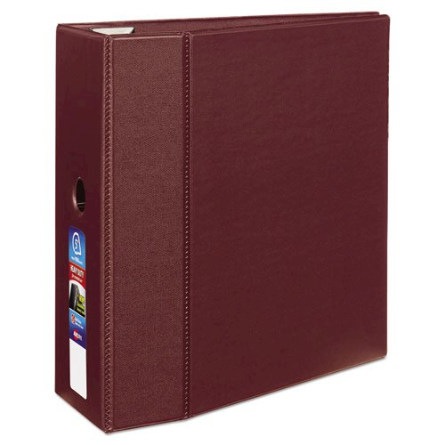 """Heavy-Duty Non-View Binder with DuraHinge, Three Locking One Touch EZD Rings and Thumb Notch, 5"""" Capacity, 11 x 8.5, Maroon. Picture 1"""