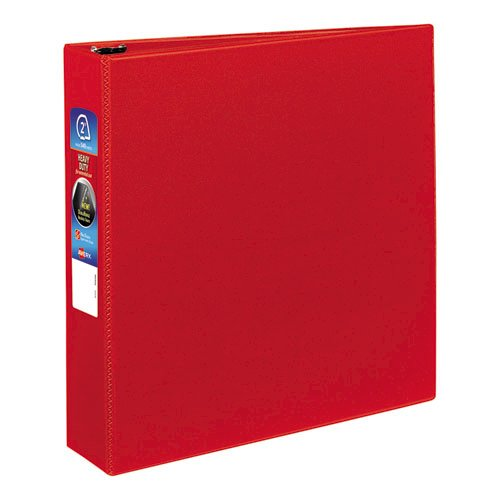 """Heavy-Duty Non-View Binder with DuraHinge and One Touch EZD Rings, 3 Rings, 2"""" Capacity, 11 x 8.5, Red. Picture 1"""