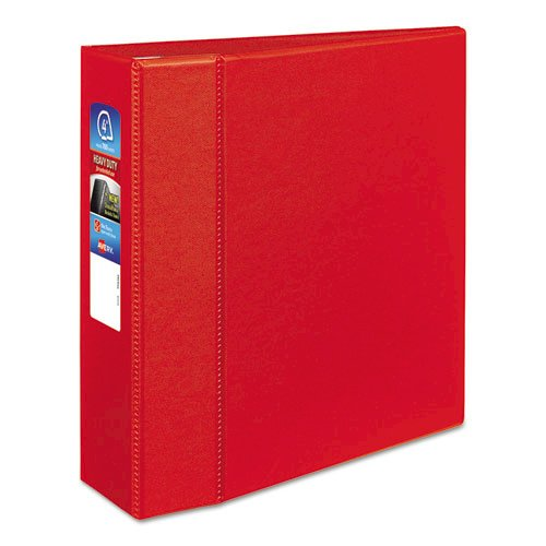 """Heavy-Duty Non-View Binder with DuraHinge and Locking One Touch EZD Rings, 3 Rings, 4"""" Capacity, 11 x 8.5, Red. Picture 1"""