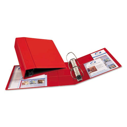 """Heavy-Duty Non-View Binder with DuraHinge and Locking One Touch EZD Rings, 3 Rings, 4"""" Capacity, 11 x 8.5, Red. Picture 3"""