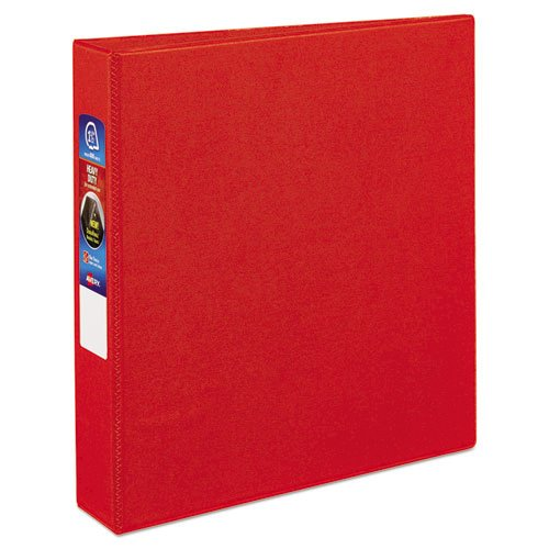 "Heavy-Duty Non-View Binder with DuraHinge and One Touch EZD Rings, 3 Rings, 1.5"" Capacity, 11 x 8.5, Red. Picture 1"