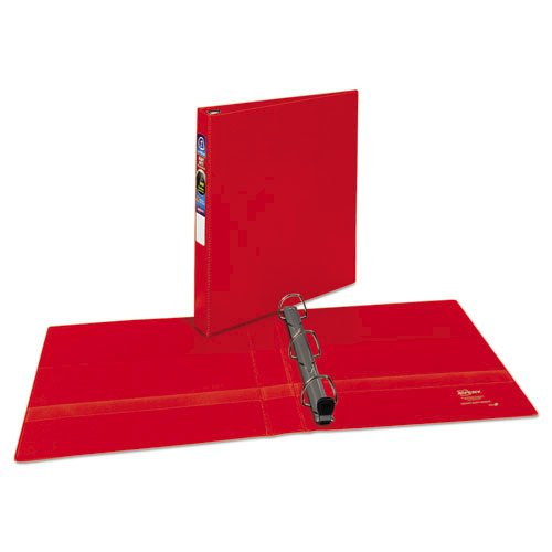 "Heavy-Duty Non-View Binder with DuraHinge and One Touch EZD Rings, 3 Rings, 1"" Capacity, 11 x 8.5, Red. Picture 1"