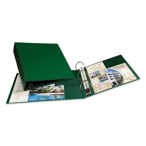 """Heavy-Duty Non-View Binder with DuraHinge and One Touch EZD Rings, 3 Rings, 2"""" Capacity, 11 x 8.5, Green. Picture 4"""