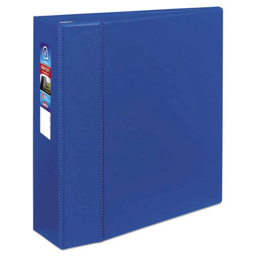 """Heavy-Duty Non-View Binder with DuraHinge and Locking One Touch EZD Rings, 3 Rings, 4"""" Capacity, 11 x 8.5, Blue. Picture 1"""