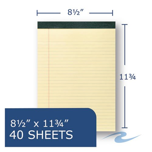 Recycled Legal Pad, Wide/Legal Rule, 8.5 x 11, Canary, 40 Sheets, Dozen. Picture 2