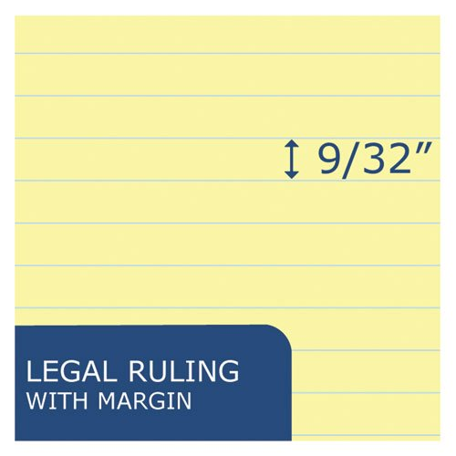 Recycled Legal Pad, Wide/Legal Rule, 8.5 x 11, Canary, 40 Sheets, Dozen. Picture 3
