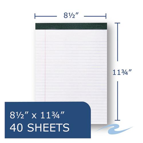 Recycled Legal Pad, Wide/Legal Rule, 8.5 x 11, White, 40 Sheets, Dozen. Picture 6