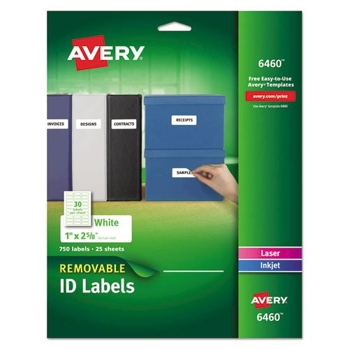 Removable Multi-Use Labels, Inkjet/Laser Printers, 1 x 2.63, White, 30/Sheet, 25 Sheets/Pack. Picture 1