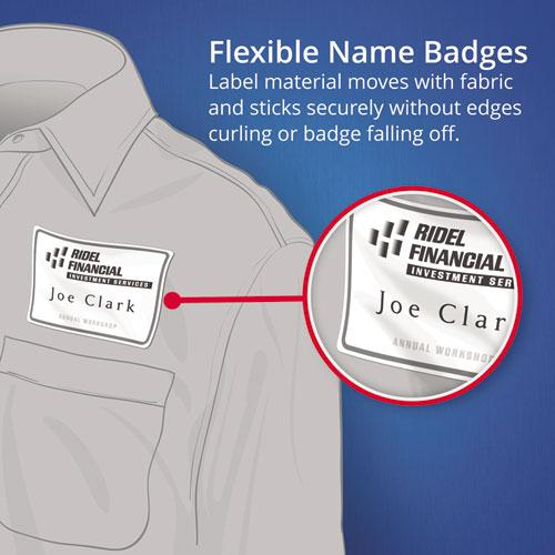 Flexible Adhesive Name Badge Labels, 3.38 x 2.33, White, 160/Pack. Picture 5