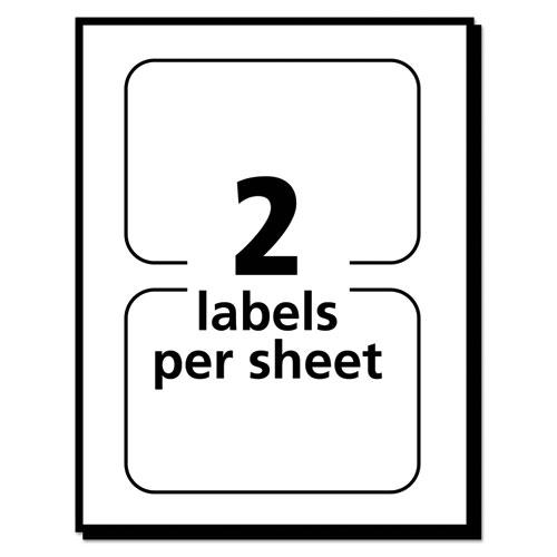 Flexible Adhesive Name Badge Labels, 3.38 x 2.33, White/Blue Border, 40/Pack. Picture 2