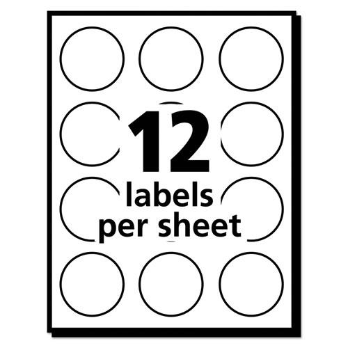 """Removable Multi-Use Labels, Inkjet/Laser Printers, 1"""" dia., White, 12/Sheet, 50 Sheets/Pack, (5410). Picture 4"""