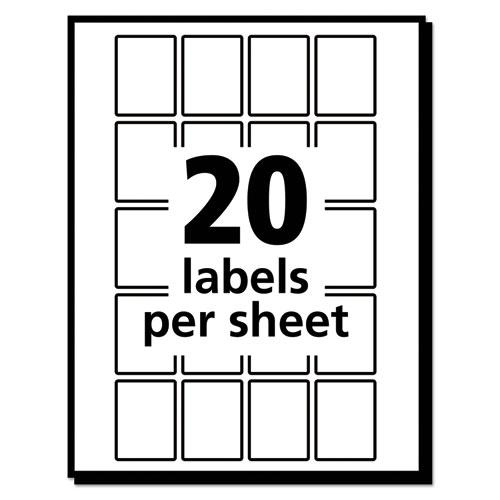 Removable Multi-Use Labels, Inkjet/Laser Printers, 1 x 0.75, White, 20/Sheet, 50 Sheets/Pack, (5428). Picture 4
