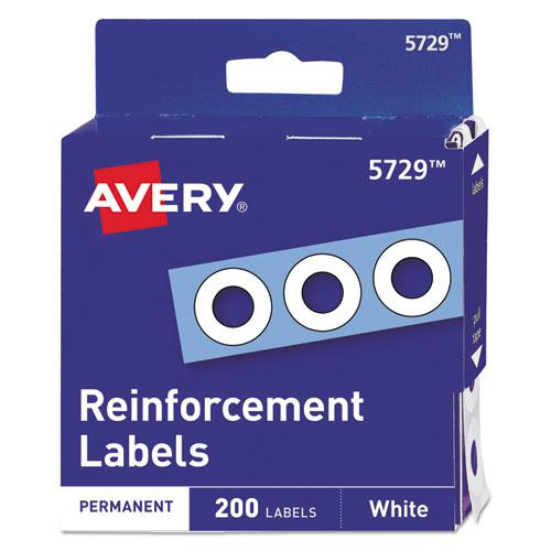 "Dispenser Pack Hole Reinforcements, 1/4"" Dia, White, 200/Pack, (5729). Picture 1"