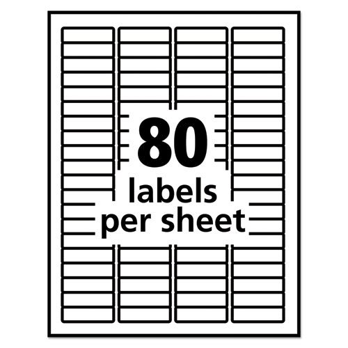 Removable Multi-Use Labels, Inkjet/Laser Printers, 0.5 x 1.75, White, 80/Sheet, 25 Sheets/Pack. Picture 5