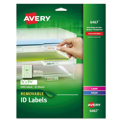 Removable Multi-Use Labels, Inkjet/Laser Printers, 0.5 x 1.75, White, 80/Sheet, 25 Sheets/Pack. Picture 1