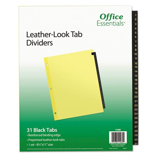 Preprinted Black Leather Tab Dividers, 31-Tab, Letter. Picture 1