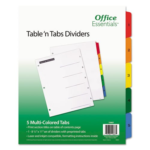 Table 'n Tabs Dividers, 5-Tab, 1 to 5, 11 x 8.5, White, 1 Set. Picture 1