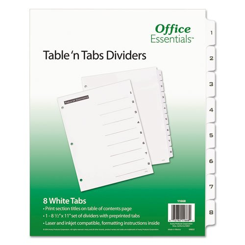 Table 'n Tabs Dividers, 8-Tab, 1 to 8, 11 x 8.5, White, 1 Set. Picture 1