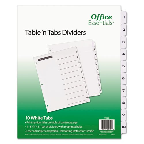 Table 'n Tabs Dividers, 10-Tab, 1 to 10, 11 x 8.5, White, 1 Set. Picture 1