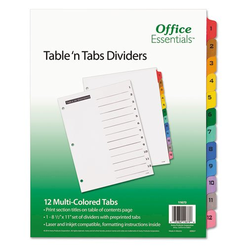 Table 'n Tabs Dividers, 12-Tab, 1 to 12, 11 x 8.5, White, 1 Set. Picture 1
