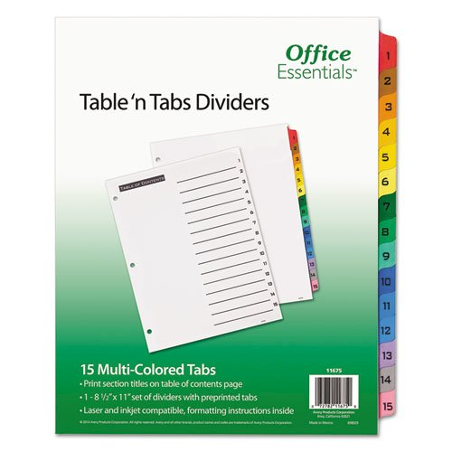 Table 'n Tabs Dividers, 15-Tab, 1 to 15, 11 x 8.5, White, 1 Set. Picture 1