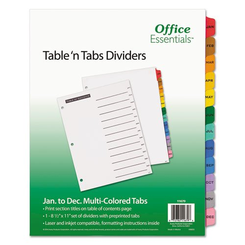 Table 'n Tabs Dividers, 12-Tab, Jan. to Dec., 11 x 8.5, White, 1 Set. Picture 1