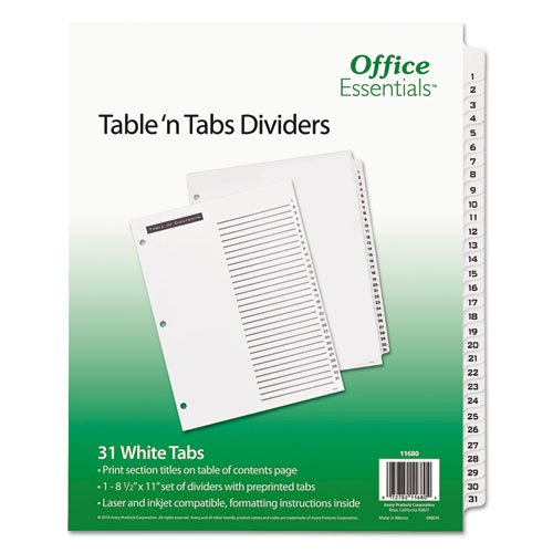 Table 'n Tabs Dividers, 31-Tab, 1 to 31, 11 x 8.5, White, 1 Set. Picture 1