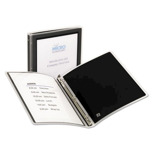 """Flexi-View Binder with Round Rings, 3 Rings, 0.5"""" Capacity, 11 x 8.5, Black. Picture 1"""
