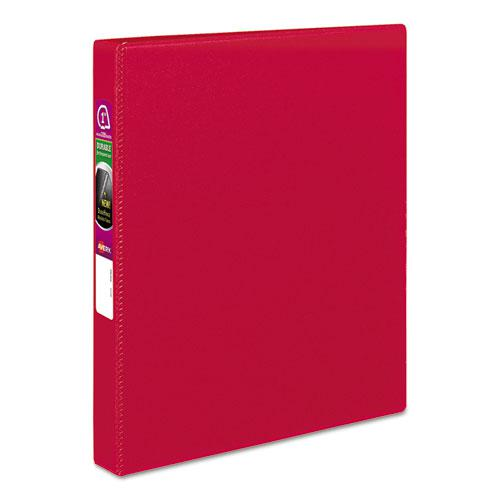 """Durable Non-View Binder with DuraHinge and Slant Rings, 3 Rings, 1"""" Capacity, 11 x 8.5, Red. Picture 1"""