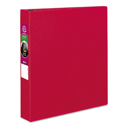 """Durable Non-View Binder with DuraHinge and Slant Rings, 3 Rings, 1.5"""" Capacity, 11 x 8.5, Red. Picture 1"""