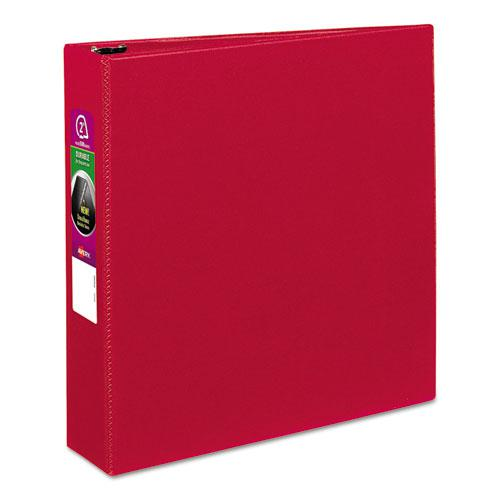 """Durable Non-View Binder with DuraHinge and Slant Rings, 3 Rings, 2"""" Capacity, 11 x 8.5, Red. Picture 1"""