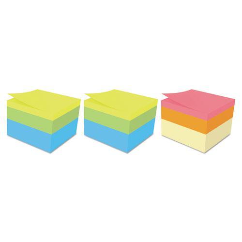 Mini Cubes, 1 7/8 x 1 7/8, Orange Wav/Green Wave, 400-Sheet, 3/Pack. Picture 2