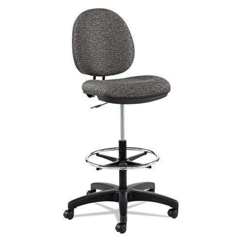 """Alera Interval Series Swivel Task Stool, 33.26"""" Seat Height, Supports up to 275 lbs, Graphite Gray Seat/Back, Black Base. Picture 1"""