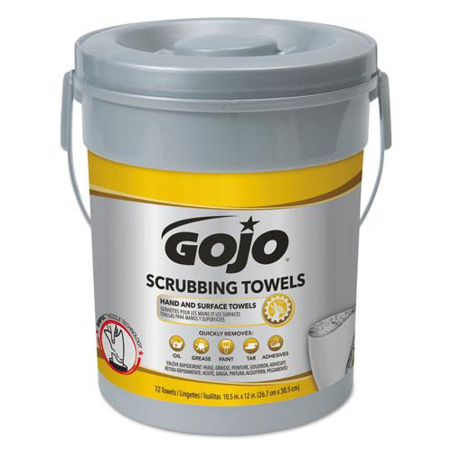 Scrubbing Towels, Hand Cleaning, Silver/Yellow, 10 1/2 x 12, 72/Bucket, 6/Carton. Picture 1