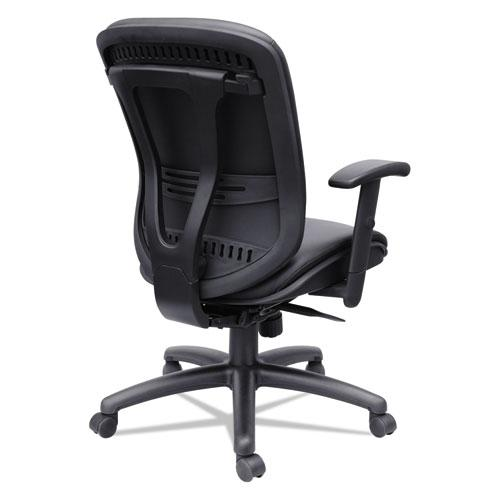 Alera Eon Series Mid-Back Bonded Leather Synchro with Seat Slide Chair, Supports 275 lbs, Black Seat/Black Back, Black Base. Picture 7