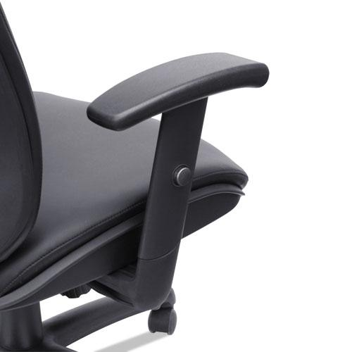 Alera Eon Series Mid-Back Bonded Leather Synchro with Seat Slide Chair, Supports 275 lbs, Black Seat/Black Back, Black Base. Picture 5