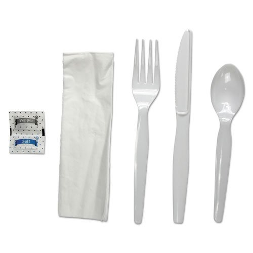 Six-Piece Cutlery Kit, Condiment/Fork/Knife/Napkin/Spoon, Heavyweight, White, 250/Carton. Picture 1