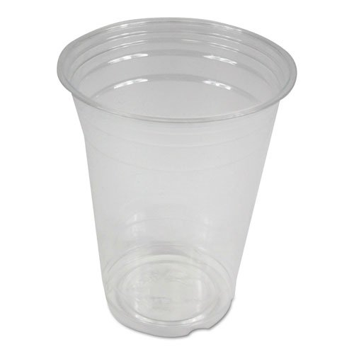 Clear Plastic Cold Cups, 16 oz, PET, 20 Cups/Sleeve, 50 Sleeves/Carton. Picture 1