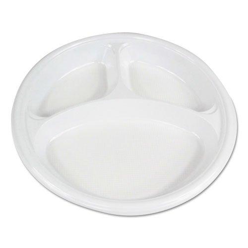 "Hi-Impact Plastic Dinnerware, Plate, 10"" Dia., 3 Compartments, White, 500/Carton. Picture 1"