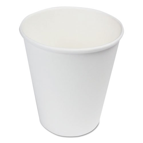 Paper Hot Cups, 8 oz, White, 20 Cups/Sleeve, 50 Sleeves/Carton. Picture 1